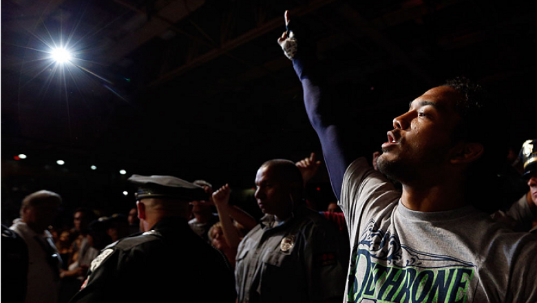 ALBUQUERQUE, NM - JUNE 07:  Benson Henderson enters the arena before his lightweight fight against Rustam Khabilov during the UFC Fight Night event at Tingley Coliseum on June 7, 2014 in Albuquerque, New Mexico.  (Photo by Josh Hedges/Zuffa LLC/Zuffa LLC