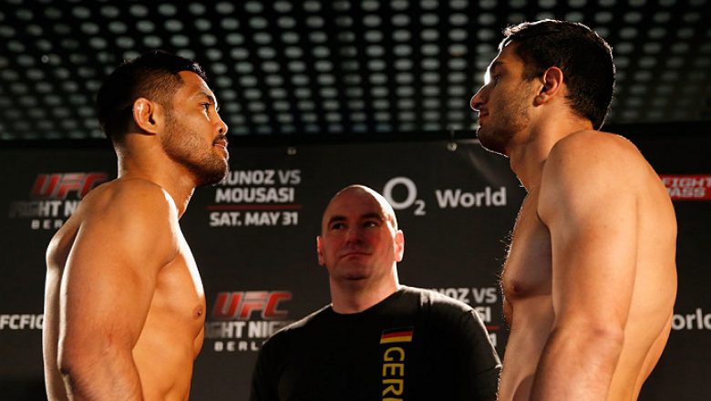 BERLIN, GERMANY - MAY 30:  Opponents Mark Munoz (L) and Gegard Mousasi (R) face off during the UFC weigh-in at O2 World on May 30, 2014 in Berlin, Germany.  (Photo by Boris Streubel/Zuffa LLC/Zuffa LLC via Getty Images)