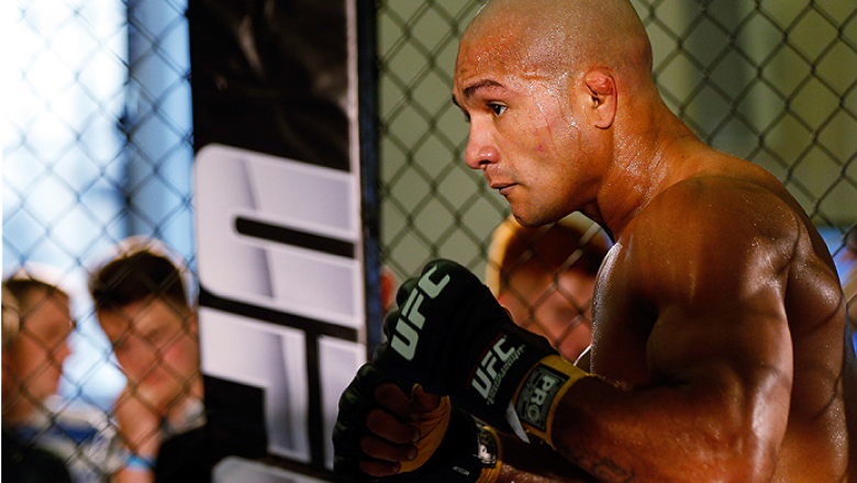 DUBLIN, IRELAND - JULY 16:  Diego Brandao holds an open training session during the UFC media day at Royal Hospital Kilmainham on July 16, 2014 in Dublin, Ireland. (Photo by Josh Hedges/Zuffa LLC/Zuffa LLC via Getty Images)