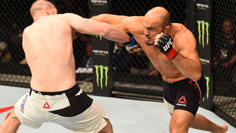 GLASGOW, SCOTLAND - JULY 18:  (R-L) Ilir Latifi of Sweden punches Hans Stringer of the Netherlands in their light heavyweight fight during the UFC Fight Night event inside the SSE Hydro on July 18, 2015 in Glasgow, Scotland.  (Photo by Josh Hedges/Zuffa L