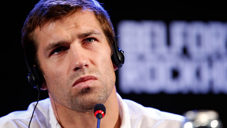 JARAGUA DO SUL, BRAZIL - MAY 16:   Luke Rockhold interacts with media during media day for the UFC on FX event on May 16, 2013 at the Sociedade Cultura Artistica in Jaragua do Sul, Santa Catarina, Brazil.  (Photo by Josh Hedges/Zuffa LLC/Zuffa LLC via Get