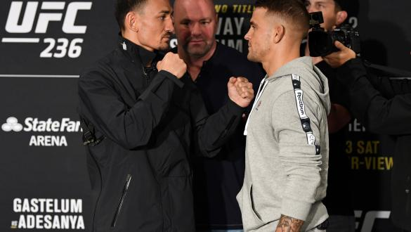 ATLANTA, GA - APRIL 11: Max Holloway and Dustin Poirier face-off for the media during the UFC 236 Ultimate Media Day at Hyatt Regency Atlanta on April 11, 2019 in Atlanta, Georgia. (Photo by Josh Hedges/Zuffa LLC/Zuffa LLC via Getty Images)