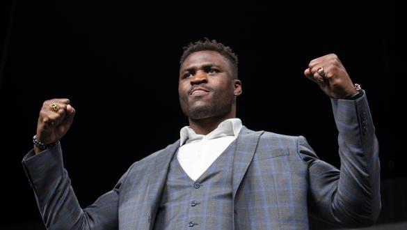 ATLANTA, GA - APRIL 12: Francis Ngannou of Cameroon poses during the UFC Seasonal Press Conference at State Farm Arena on April 12, 2019 in Atlanta, Georgia. (Photo by Carmen Mandato/Zuffa LLC via Getty Images)