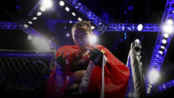 LAS VEGAS, NV - MARCH 02: Weili Zhang of China leaves the octagon after her women's strawweight bout during the UFC 235 event at T-Mobile Arena on March 2, 2019 in Las Vegas, Nevada. (Photo by Christian Petersen/Zuffa LLC/Zuffa LLC)