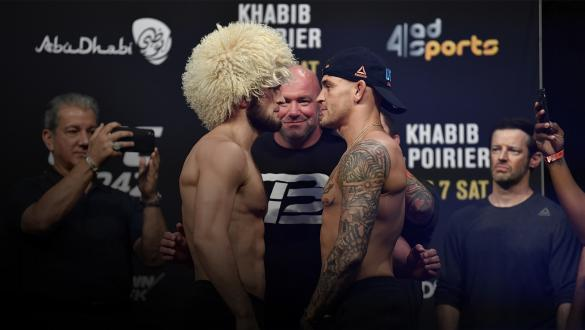 ABU DHABI, UNITED ARAB EMIRATES - SEPTEMBER 06: (L-R) Khabib Nurmagomedov of Russia and Dustin Poirier face off during the UFC 242 weigh-in at The Arena on September 6, 2019 in Abu Dhabi, United Arab Emirates. (Photo by Jeff Bottari/Zuffa LLC/Zuffa LLC via Getty Images)
