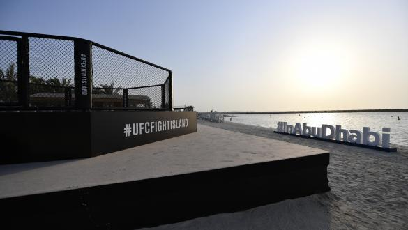 A general view of the Octagon at Yas Beach ahead of the UFC Fight Island series of events on July 09, 2020 in Abu Dhabi, United Arab Emirates. (Photo by Jeff Bottari/Zuffa LLC)