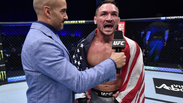 Michael Chandler reacts after his knockout victory over Dan Hooker of New Zealand in a lightweight fight during the UFC 257 event inside Etihad Arena on UFC Fight Island on January 23, 2021 in Abu Dhabi, United Arab Emirates. (Photo by Jeff Bottari/Zuffa LLC)