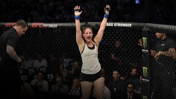 Sarah Moras of Canada celebrates her TKO victory over Liana Jojua of Georgia in their women's bantamweight bout during UFC 242 at The Arena on September 7, 2019 in Yas Island, Abu Dhabi, United Arab Emirates. (Photo by Jeff Bottari/Zuffa LLC)