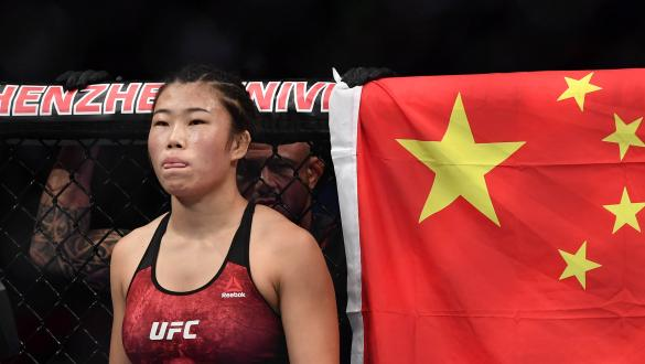 Wu Yanan of China prepares to fight Mizuki Inoue of Japan in their flyweight bout during the UFC Fight Night event at Shenzhen Universiade Sports Centre on August 31, 2019 in Shenzhen, China. (Photo by Brandon Magnus/Zuffa LLC)