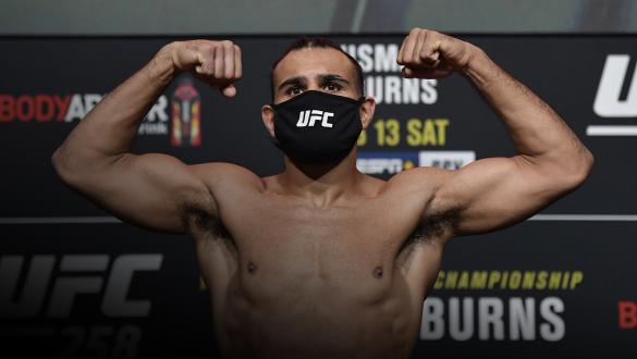 Gabe Green poses on the scale during the UFC weigh-in at UFC APEX on February 12, 2021 in Las Vegas, Nevada. (Photo by Jeff Bottari/Zuffa LLC)