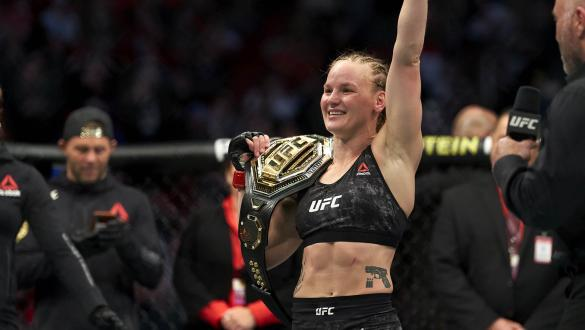 Valentina Shevchenko of Kyrgyzstan celebrates her TKO victory over Katlyn Chookagian in their women's flyweight championship bout during the UFC 247 event at Toyota Center on February 08, 2020 in Houston, Texas. (Photo by Cooper Neill/Zuffa LLC)