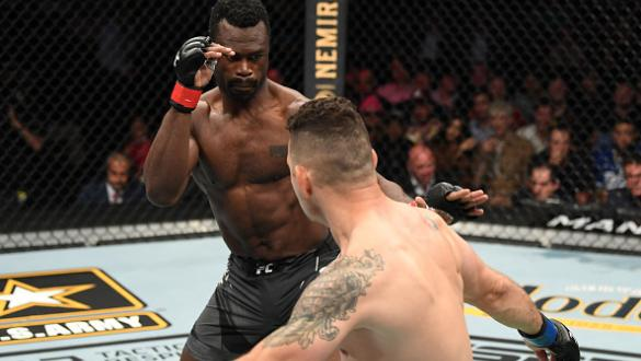 Chris Weidman kicks Uriah Hall of Jamaica in their middleweight bout during the UFC 261 event at VyStar Veterans Memorial Arena on April 24, 2021 in Jacksonville, Florida. (Photo by Josh Hedges/Zuffa LLC)