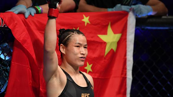 Zhang Weili of China is introduced prior to facing Rose Namajunas in their UFC women's strawweight championship bout during the UFC 261 event at VyStar Veterans Memorial Arena on April 24, 2021 in Jacksonville, Florida. (Photo by Josh Hedges/Zuffa LLC)