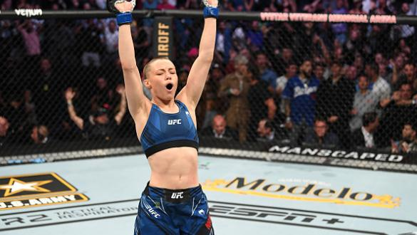 Rose Namajunas reacts after defeating Zhang Weili of China in their UFC women's strawweight championship bout during the UFC 261 event at VyStar Veterans Memorial Arena on April 24, 2021 in Jacksonville, Florida. (Photo by Josh Hedges/Zuffa LLC)