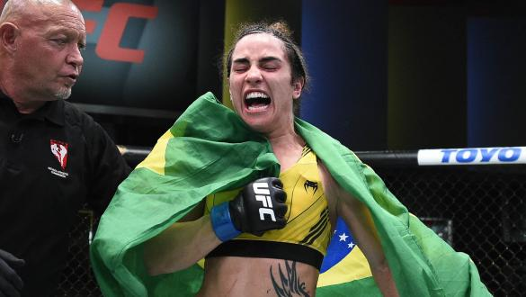 Norma Dumont Viana of Brazil reacts after defeating Felicia Spencer of Canada in their women's featherweight bout during the UFC Fight Night event at UFC APEX on May 22, 2021 in Las Vegas, Nevada. (Photo by Chris Unger/Zuffa LLC)