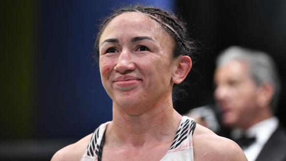 Carla Esparza reacts after defeating Yan Xiaonan of China in their women's strawweight bout during the UFC Fight Night event at UFC APEX on May 22, 2021 in Las Vegas, Nevada. (Photo by Chris Unger/Zuffa LLC)