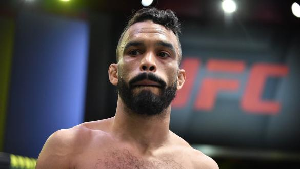 Rob Font is introduced prior to his bantamweight bout during the UFC Fight Night event at UFC APEX on May 22, 2021 in Las Vegas, Nevada. (Photo by Chris Unger/Zuffa LLC)