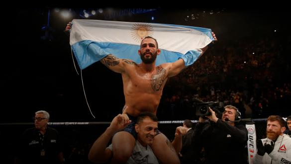 Santiago Ponzinibbio of Argentina celebrates after defeating Neil Magny in their welterweight bout during the UFC Fight Night event inside Arena Parque Roca on November 17, 2018 in Buenos Aires, Argentina. (Photo by Alexandre Schneider/Zuffa LLC)
