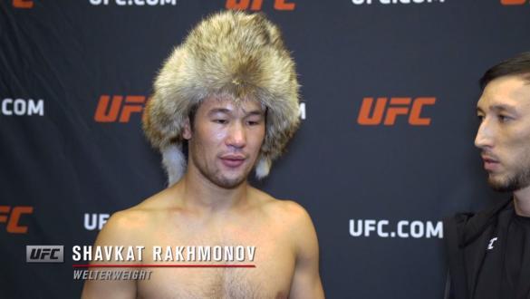 Shavkat Rakhmonov reacts withUFC.comafter his submissionvictory over welterweight Michel Prazeresat UFC Fight Night: Gane vs Volkov on June 26, 2021.