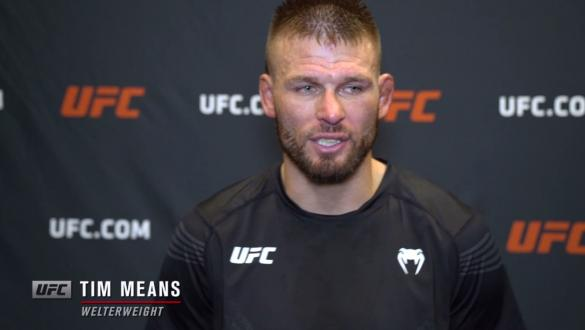 Tim Means reacts withUFC.comafter his unanimous decision victory over welterweightNicolas Dalbyat UFC Fight Night: Gane vs Volkov on June 26, 2021.