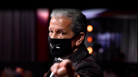 Octagon announcer Bruce Buffer is seen in attendance during the UFC 250 event at UFC APEX on June 06, 2020 in Las Vegas, Nevada. (Photo by Jeff Bottari/Zuffa LLC)