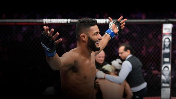 Dhiego Lima celebrates his KO victory over Chad Laprise of Canada in their welterweight fight during the UFC 231 event at Scotiabank Arena on December 8, 2018 in Toronto, Canada. (Photo by Josh Hedges/Zuffa LLC)