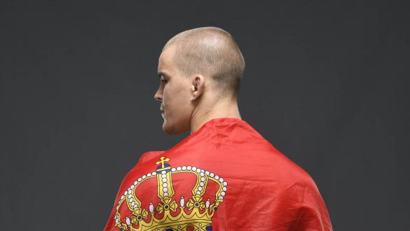 : Dusko Todorovic of Serbia poses for a post fight portrait backstage during the UFC Fight Night event inside Flash Forum on UFC Fight Island on October 04, 2020 in Abu Dhabi, United Arab Emirates. (Photo by Mike Roach/Zuffa LLC via Getty Images)