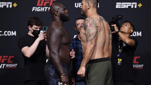 Jairzinho Rozenstruik of Suriname and Augusto Sakai of Brazil face off during the UFC Fight Night weigh-in at UFC APEX on June 04, 2021 in Las Vegas, Nevada. (Photo by Jeff Bottari/Zuffa LLC)