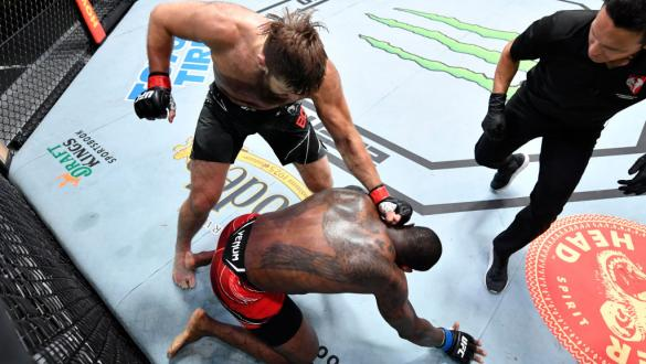 Tanner Boser of Canada punches Ovince Saint Preux in a heavyweight fight during the UFC Fight Night event at UFC APEX on June 26, 2021 in Las Vegas, Nevada. (Photo by Chris Unger/Zuffa LLC)