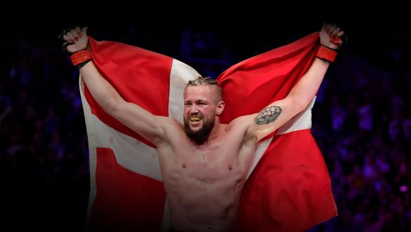 Nicolas Dalby of Denmark reacts after the conclusion of his welterweight bout against Alex Oliveira of Brazil during the UFC Fight Night event at Royal Arena on September 28, 2019 in Copenhagen, Denmark. (Photo by Jeff Bottari/Zuffa LLC)