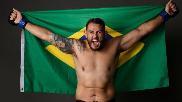 Augusto Sakai of Brazil poses for a portrait backstage during the UFC Fight Night event at BB&T Center on April 27, 2019 in Sunrise, Florida. (Photo by Mike Roach/Zuffa LLC/Zuffa LLC via Getty Images)