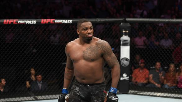 Walt Harris reacts after defeating Aleksei Oleinik of Russia in their heavyweight bout during the UFC Fight Night event at AT&T Center on July 20, 2019 in San Antonio, Texas. (Photo by Josh Hedges/Zuffa LLC)