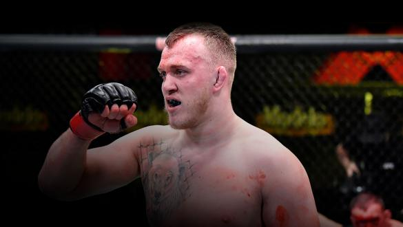 Serghei Spivac of the Ukraine reacts after his victory over Jared Vanderaa in a heavyweight bout during the UFC Fight Night event at UFC APEX on February 20, 2021 in Las Vegas, Nevada. (Photo by Chris Unger/Zuffa LLC)