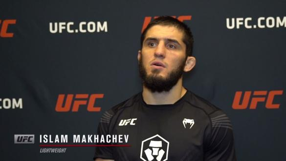 Islam Makhachev reacts withUFC.comafter his submissionvictory over lightweight Thiago Moises at UFC Fight Night: Makhachev vs Moises on July 17, 2021.