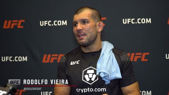 Rodolfo Vieira reacts withUFC.comafter his submissionvictory over middleweightDustin Stoltzfusat UFC Fight Night: Makhachev vs Moises on July 17, 2021.