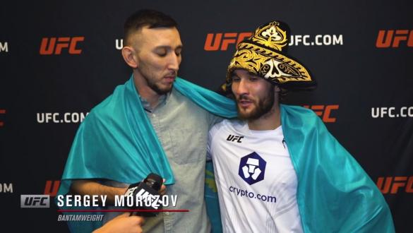Sergey Morozov reacts withUFC.comafter his unanimous decisionvictory over bantamweight Khalid Taha at UFC Fight Night: Makhachev vs Moises on July 17, 2021.