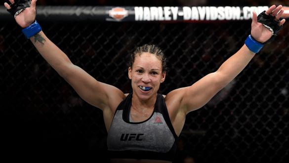 Marion Reneau celebrates after her submission victory over Sara McMann in their women's bantamweight bout during the UFC Fight Night event at Amway Center on February 24, 2018 in Orlando, Florida. (Photo by Jeff Bottari/Zuffa LLC)