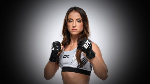 Maycee Barber poses for a portrait during a UFC photo session inside UFC APEX on July 21, 2021 in Las Vegas, Nevada. (Photo by Mike Roach/Zuffa LLC via Getty Images)