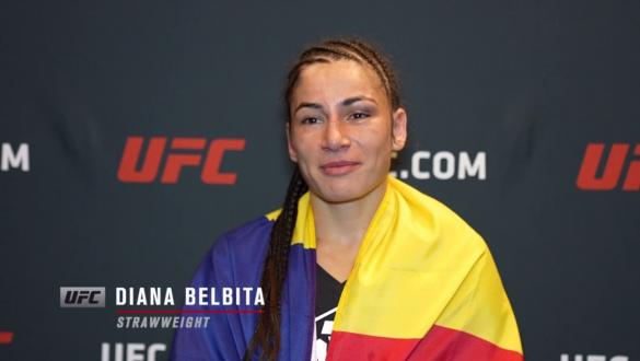 Diana Belbita reacts with UFC.com after her unanimous decisionvictory over strawweight Hannah Goldy at UFC Fight Night: Sandhagen vs Dillashaw on July 24 2021.