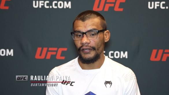Raulian Paiva reacts with UFC.com after his majority decisionvictory over bantamweightKyler Phillips at UFC Fight Night: Sandhagen vs Dillashaw on July 24 2021.