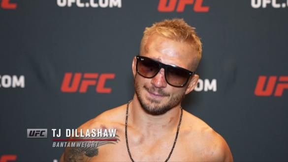 TJ Dillashaw reacts withUFC.comafter his split decisionvictory over bantamweight Cory Sandhagenat UFC Fight Night: Sandhagen vs Dillashaw on July 24 2021.
