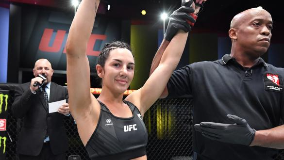 Cheyanne Buys reacts after her victory over Gloria de Paula of Brazil in a strawweight fight during the UFC Fight Night event at UFC APEX on July 31 2021 in Las Vegas Nevada. (Photo by Chris Unger/Zuffa LLC)