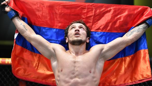 Melsik Baghdasaryan of Armenia reacts after his TKO victory over Collin Anglin in a featherweight fight during the UFC Fight Night event at UFC APEX on July 31 2021 in Las Vegas Nevada. (Photo by Chris Unger/Zuffa LLC)
