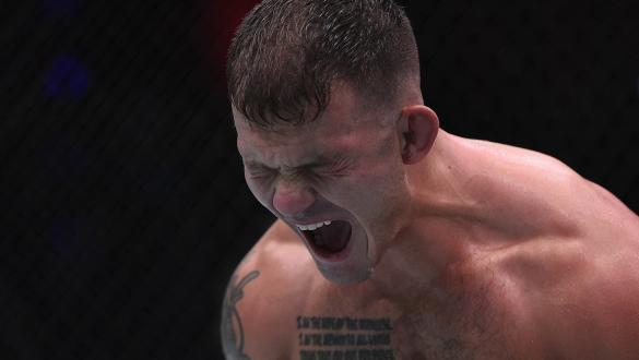 Orion Cosce reacts after his victory over Matt Dixon in a welterweight bout during week three of Dana White's Contender Series Season 4 at UFC APEX on August 18 2020 in Las Vegas Nevada (Photo by Chris Unger/DWCS LLC/Zuffa LLC)