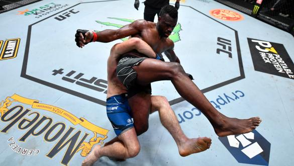 Sean Strickland takes Uriah Hall down during their middleweight bout at UFC Fight Night: Hall vs Strickland on July 31 2021 in Las Vegas Nevada. (Photo by Chris Unger/Zuffa LLC)