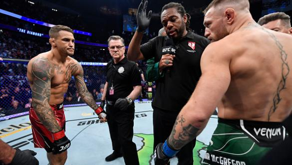 Opponents Dustin Poirier and Conor McGregor of Ireland face off prior to their welterweight fight during the UFC 264 event at T-Mobile Arena on July 10, 2021 in Las Vegas, Nevada. (Photo by Jeff Bottari/Zuffa LLC)