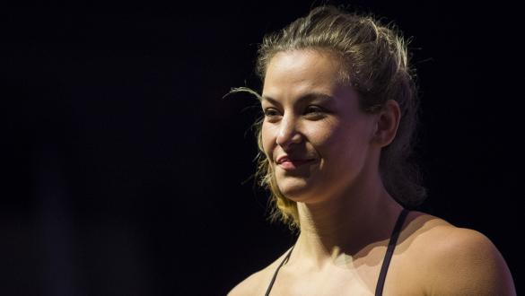 Miesha Tate stands on the scale during the UFC 200 weigh-ins at T-Mobile Arena on July 8, 2016 in Las Vegas, Nevada. (Photo by Cooper Neill/Zuffa LLC)