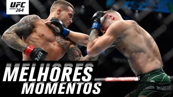 Thumbnail dos melhores momentos do UFC 264 com imagem de Dustin Poirier golpeando Conor McGregor