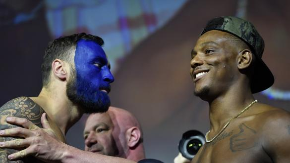 Paul Craig of Scotland and Jamahal Hill face off during the UFC 263 ceremonial weigh-in at Gila River Arena on June 11, 2021 in Glendale, Arizona. (Photo by Mike Roach/Zuffa LLC)