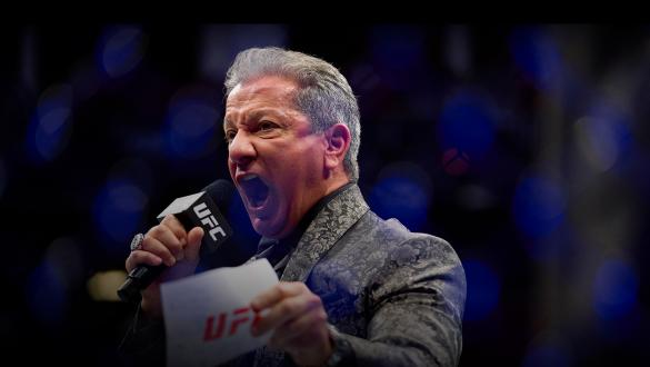 UFC Octagon Announcer Bruce Buffer introduces Anderson dos Santos of Brazil prior to his bantamweight bout during the UFC 265 event at Toyota Center on August 07, 2021 in Houston, Texas. (Photo by Cooper Neill/Zuffa LLC)
